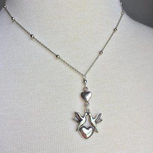 Sterling Silver Love Bird Heart Necklace